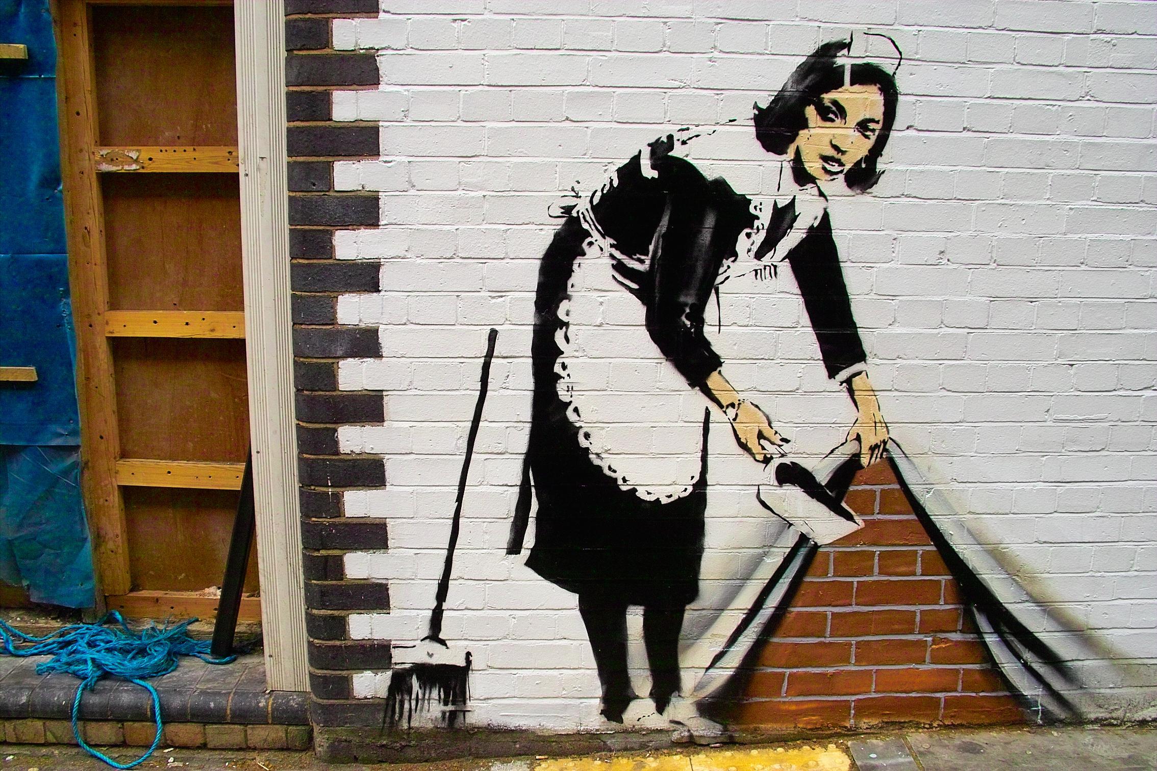 Pittura e scultura Banksy_-_Sweep_at_Hoxton
